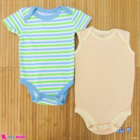 ست 2 عددی لباس زیردکمه دار کودک نخ پنبه 3 ماه مارک baby bodysuits