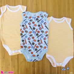 ست 3 عددی بادی نوزاد و کودک نخ پنبه ای 3 ماه مارک baby bodysuits