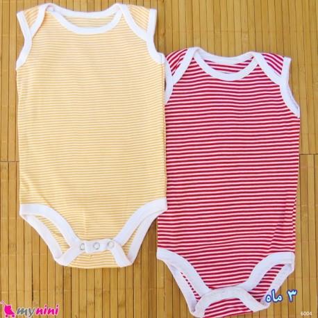 ست 2 عددی بادی رکابی نوزاد و کودک نخ پنبه ای 3 ماه مارک baby bodysuits