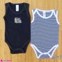 ست 2 عددی بادی رکابی نوزاد و کودک نخ پنبه ای 6 تا 9 ماه مارک baby bodysuits