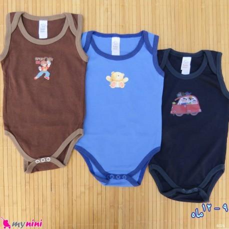ست 2 عددی بادی رکابی نوزاد و کودک نخ پنبه ای 9 تا 12 ماه مارک baby bodysuits