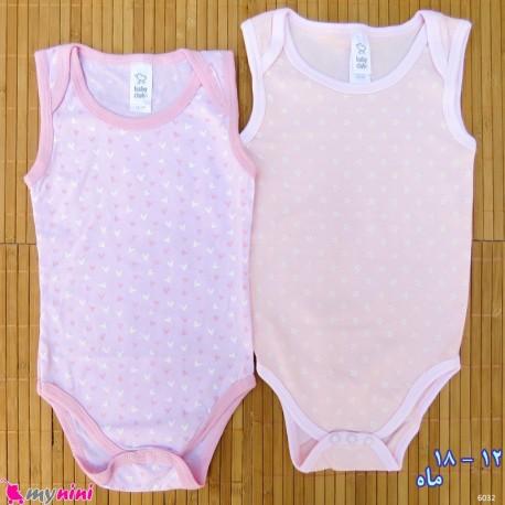 ست 2 عددی بادی رکابی نوزاد و کودک نخ پنبه ای 12 تا 18 ماه مارک baby bodysuits
