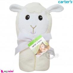 حوله کلاه دار نوزاد و کودک عروسکی مارک کارترز گوسفند رنگ شیری Carters hooded towel