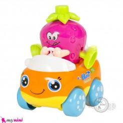 ماشین میوه ای هویلی تویز قدرتی نشکن طرح توت فرنگی Huile Toys fruit car