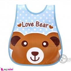 پیشبند نایلونی جیب دار آبی خرس Baby waterproof bib