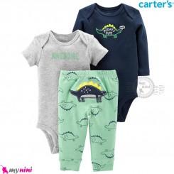 لباس کارترز 3 تکه اورجینال 2 عدد بادی و شلوار سرمه ای طوسی دایناسور Carter's kids clothes set