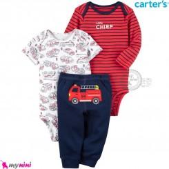 لباس کارترز 3 تکه اورجینال 2 عدد بادی و شلوار قرمز راه راه سرمه ای آتشنشانی Carter's kids clothes set