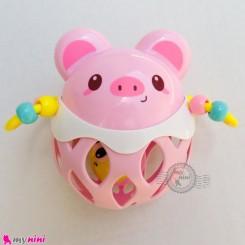 اسباب بازی جغجغه ای آموزشی چند کاره صورتی خوک Baby flexible glue rattle