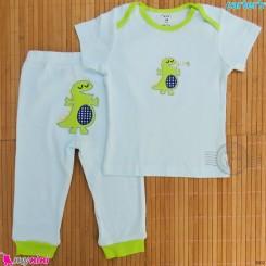 ست تیشرت و شلوار کارترز نخ پنبه ای آبی دایناسور Carter's baby clothes set