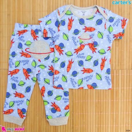 ست تیشرت و شلوار کارترز نخ پنبه ای آبی فضایی Carter's baby clothes set