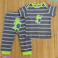 ست تیشرت و شلوار کارترز نخ پنبه ای طوسی دایناسور Carter's baby clothes set