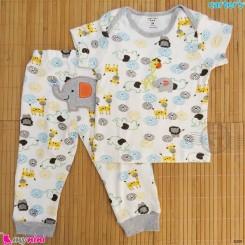 ست تیشرت و شلوار کارترز نخ پنبه ای فیل و زرافه Carter's baby clothes set