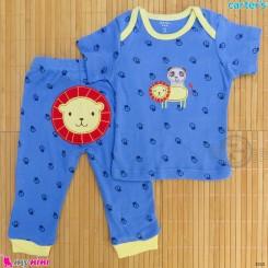 ست تیشرت و شلوار کارترز نخ پنبه ای آبی شیر و پاندا Carter's baby clothes set