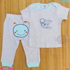 ست تیشرت و شلوار کارترز نخ پنبه ای راه راه طوسی کرم Carter's baby clothes set