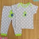 ست تیشرت و شلوار کارترز نخ پنبه ای طوسی خالدار دایناسور Carter's baby clothes set