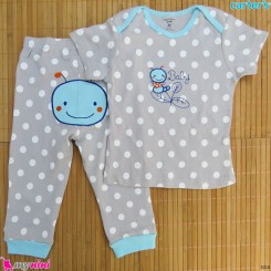 ست تیشرت و شلوار کارترز نخ پنبه ای طوسی خالدار کرم Carter's baby clothes set