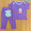 ست تیشرت و شلوار کارترز نخ پنبه ای یاسی اسب آبی Carter's baby clothes set