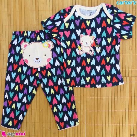 ست تیشرت و شلوار کارترز نخ پنبه ای سرمه ای قلبی خرس Carter's baby clothes set