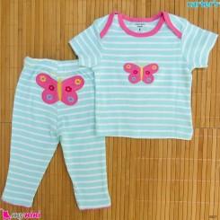 ست تیشرت و شلوار کارترز نخ پنبه ای راه راه پروانه Carter's baby clothes set
