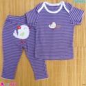ست تیشرت و شلوار کارترز نخ پنبه ای یاسی راه راه پرنده Carter's baby clothes set
