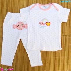 ست تیشرت و شلوار کارترز نخ پنبه ای قلب و رنگین کمان Carter's baby clothes set