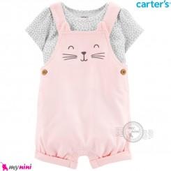 ست بیلرسوت و تیشرت کارترز اصل 2 تکه صورتی گربه  Carter's 2-Piece Tee & Shortalls Set