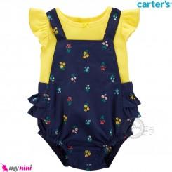ست بیلرسوت کتان و تیشرت کارترز اصل 2 تکه سرمه ای زرد  Carter's 2-Piece Tee & Shortalls Set