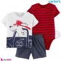لباس کارترز اورجینال 3 تکه شلوارک دار قرمز سرمه ای سگ carter's baby 3-piece short set