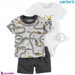 لباس کارترز اورجینال 3 تکه شلوارک دار طوسی راهسازی carter's baby 3-piece short set