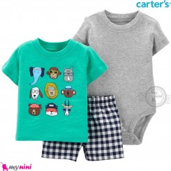 لباس کارترز اورجینال 3 تکه شلوارک دار سبز طوسی حیوانات carter's baby 3-piece short set