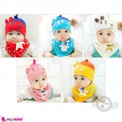 ست کلاه و دستمال گردن بچه گانه پنبه ای 2 حالته موشی Baby cotton hat & cotton Triangle bibs set