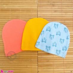کلاه کشی نوزاد پنبه ای 3 عددی Newborn cotton hat set