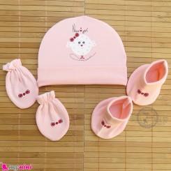 ست کلاه دستکش پاپوش نوزاد نخ پنبه ای صورتی جوجه مارک آی استار baby cotton hat Set