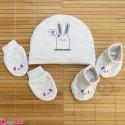 ست کلاه دستکش پاپوش نوزاد نخ پنبه ای طوسی خرگوش مارک آی استار baby cotton hat Set