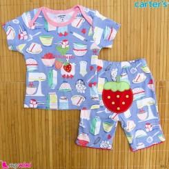 ست تیشرت و شلوارک کارترز نخ پنبه ای 6 تا 9 ماه یاسی توت فرنگی Carter's baby clothes set