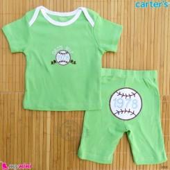 ست تیشرت و شلوارک کارترز نخ پنبه ای 6 تا 9 ماه سبز اسپرت Carter's baby clothes set