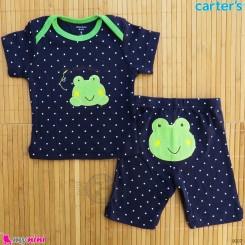 ست تیشرت و شلوارک کارترز نخ پنبه ای 6 تا 9 ماه سرمه ای قورباغه Carter's baby clothes set