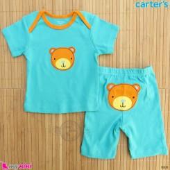 ست تیشرت و شلوارک کارترز نخ پنبه ای 6 تا 9 ماه خرس Carter's baby clothes set
