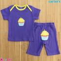ست تیشرت و شلوارک کارترز نخ پنبه ای 9 تا 12 ماه یاسی کاپ کیک Carter's baby clothes set