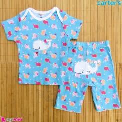 ست تیشرت و شلوارک کارترز نخ پنبه ای 9 تا 12 ماه نهنگ Carter's baby clothes set