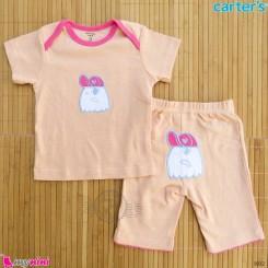 ست تیشرت و شلوارک کارترز نخ پنبه ای 9 تا 12 ماه راه راه کارتونی Carter's baby clothes set