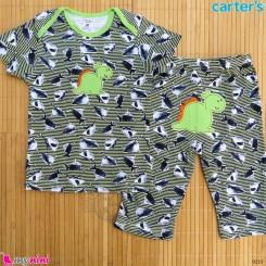 ست تیشرت و شلوارک کارترز نخ پنبه ای 36 تا 48 ماه راه راه دایناسور Carter's baby clothes set