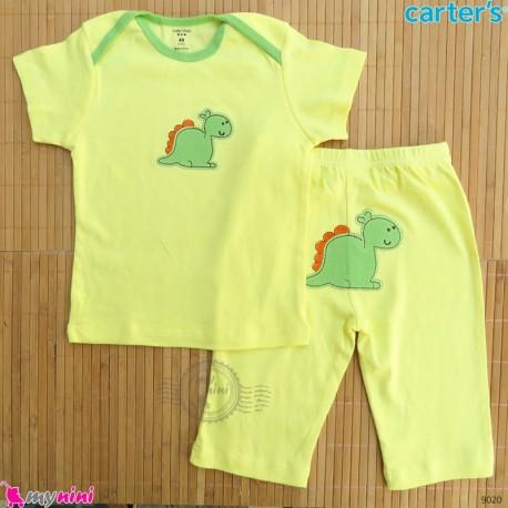 ست تیشرت و شلوارک کارترز نخ پنبه ای 36 تا 48 ماه زرد دایناسور Carter's baby clothes set