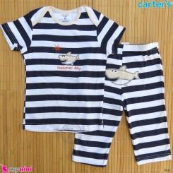 ست تیشرت و شلوارک کارترز نخ پنبه ای 36 تا 48 ماه راه راه کوسه Carter's baby clothes set