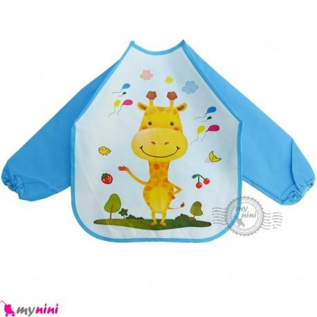 پیشبند لباسی بچه گانه ضدآب آبی زرافه baby waterproof clothing bibs with sleeves