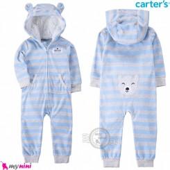 سرهمی گرم مخمل کلاهدار مارک کارترز اورجینال آبی طوسی راه راه خرس carter's baby hooded jumpsuits