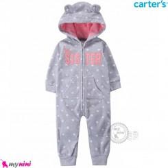 سرهمی کلاهدار کارترز اورجینال گرم و مخملی طوسی سیستر carter's baby hooded jumpsuits