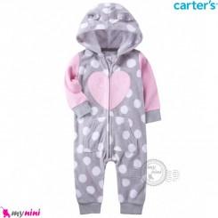 سرهمی کلاهدار کارترز اورجینال گرم و مخملی طوسی صورتی قلب carter's baby hooded jumpsuits