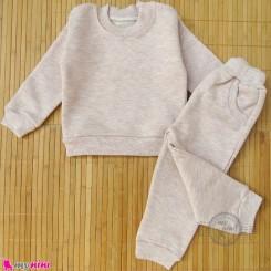 ست بلوز و شلوار گرم بچگانه دورس نسکافه ای توکُرکی Baby warm clothes set