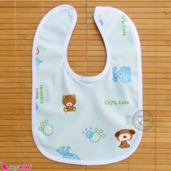 پیشبند نوزاد و کودک مخمل ضدآب خرس و سگ آبی baby fleece Bib